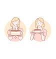 congratulation birthday cake set concept vector image