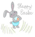 cute hand drawn easter bunny rabbit haldin seater vector image