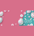 easter banner design of eggs and flowers on paper vector image