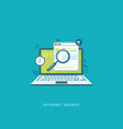 flat design with icons internet search vector image vector image