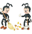 funny two black ants sweeping cartoon vector image vector image