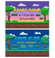 game over pixel landscape 8 bit graphics set vector image
