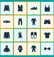garment icons set with suit vest slipper and vector image vector image