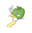 green apple character cartoon with menu vector image vector image