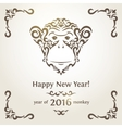 greeting new year card with monkey - symbol the vector image
