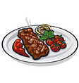 grilled roasted steak vector image vector image