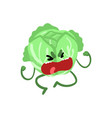 grumpy abbage cute vegetable character with funny vector image
