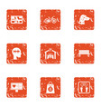 guide icons set grunge style vector image vector image