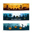 halloween party banners set vector image vector image