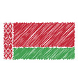 hand drawn national flag of belarus isolated on a vector image vector image