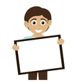 happy boy with tan skin holding board icon vector image