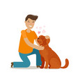 happy young man with dog pet pooch doggie vector image