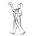 Line sketch waiter vector image
