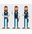 man hold tabletshow to up and show ok flat style vector image