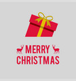 merry christmas card with goft box vector image vector image