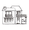 monochrome blurred silhouette of house with two vector image vector image