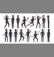 ninja character cartoon funny warriors vector image