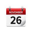 November 26 flat daily calendar icon vector image vector image