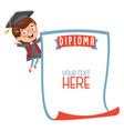 of student showing diploma vector image vector image