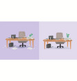 office working place and cleaning vector image vector image