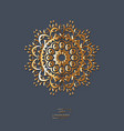 ornamental gold flower oriental mandala on blue vector image vector image