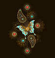 pattern with turquoise butterfly vector image vector image