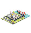 refinery plant oil tank farm maritime port vector image vector image