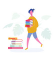 school girl walking with books from library vector image