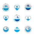 sea wave splash logotype world water day theme vector image vector image