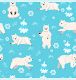 seamless pattern with polar bears graphics vector image