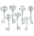 Set of Antique Vintage Keys in grunge style vector image vector image