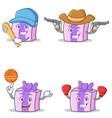 set of gift character with baseball basketball vector image