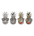 set of pineapple with glasses and smile vector image