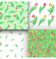 set of seamless pattern with cute cartoon colored vector image vector image