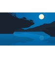 Silhouette of ankylosaurus at the night vector image vector image