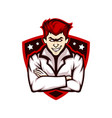 smiling doctor mascot logo vector image vector image
