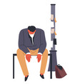 stressed unemployed man sitting pole with ads vector image