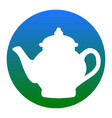tea maker sign white icon in bluish vector image vector image