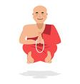 Tibetan monk meditating Yoga Buddhist Tibet Novice vector image