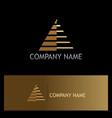 triangle pyramid stripe gold logo vector image vector image
