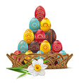 wicker dish with easter eggs vector image