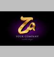 za z a 3d gold golden alphabet letter metal logo vector image vector image