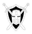 Two crossed swords shield and helmet emblem vector image