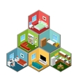 Flat 3d isometric house interior vector image