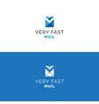 abstract v letter envelope logo vector image