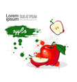 apple hand drawn watercolor fruit on white vector image vector image