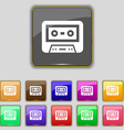 audiocassette icon sign Set with eleven colored vector image vector image