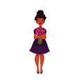 black african american woman girl holding bunch vector image vector image
