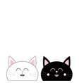 black white cat head couple family icon cute vector image vector image