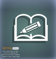 Book sign icon Open book symbol On the blue-green vector image